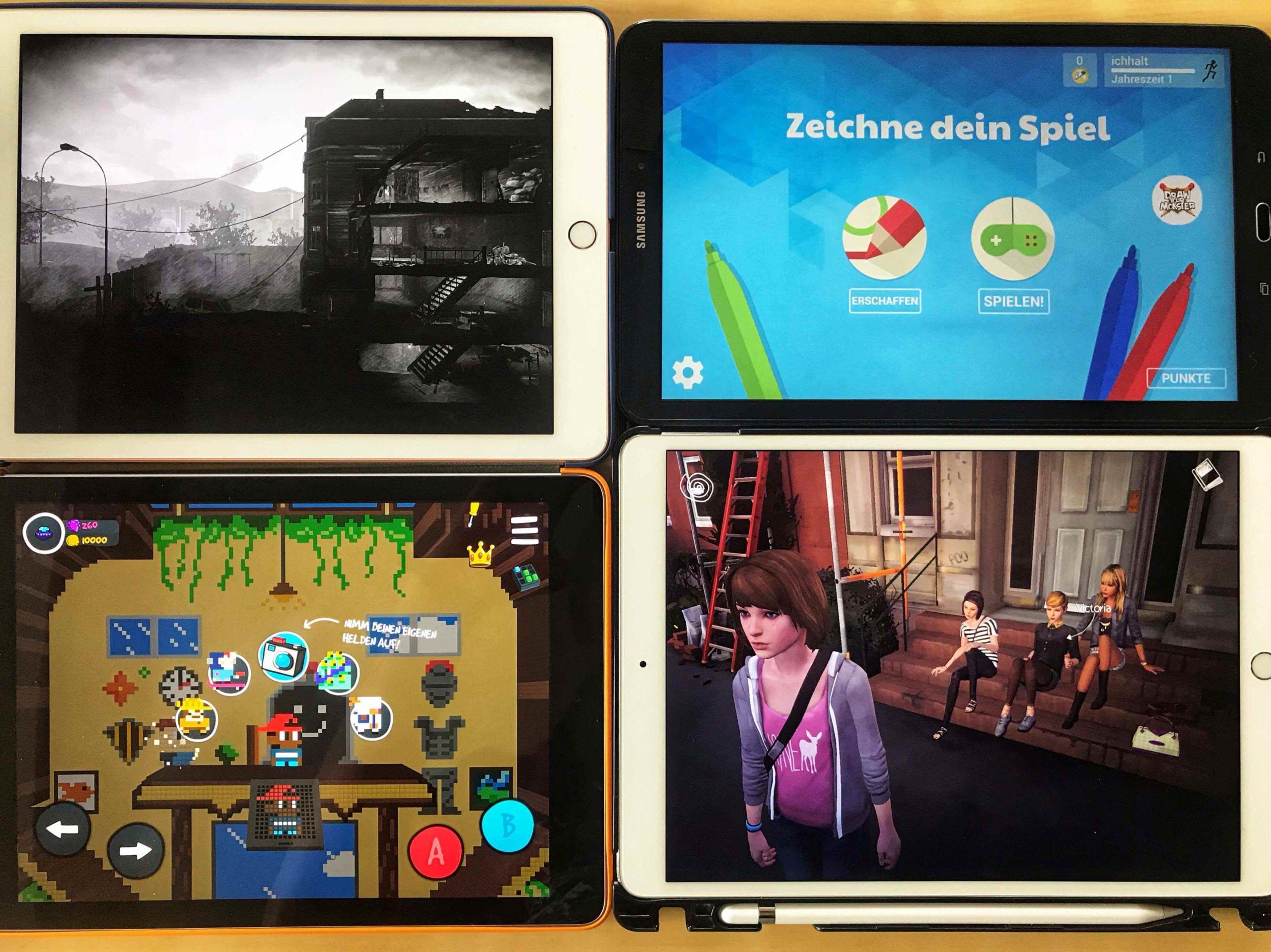 vier iPads mit mobilen Spielen